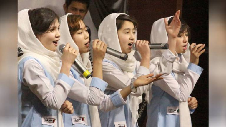 Afghan gov't bans school girls from singing anthems in events