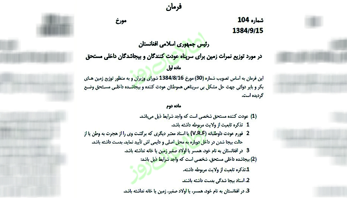 Land distribution in Ghazni